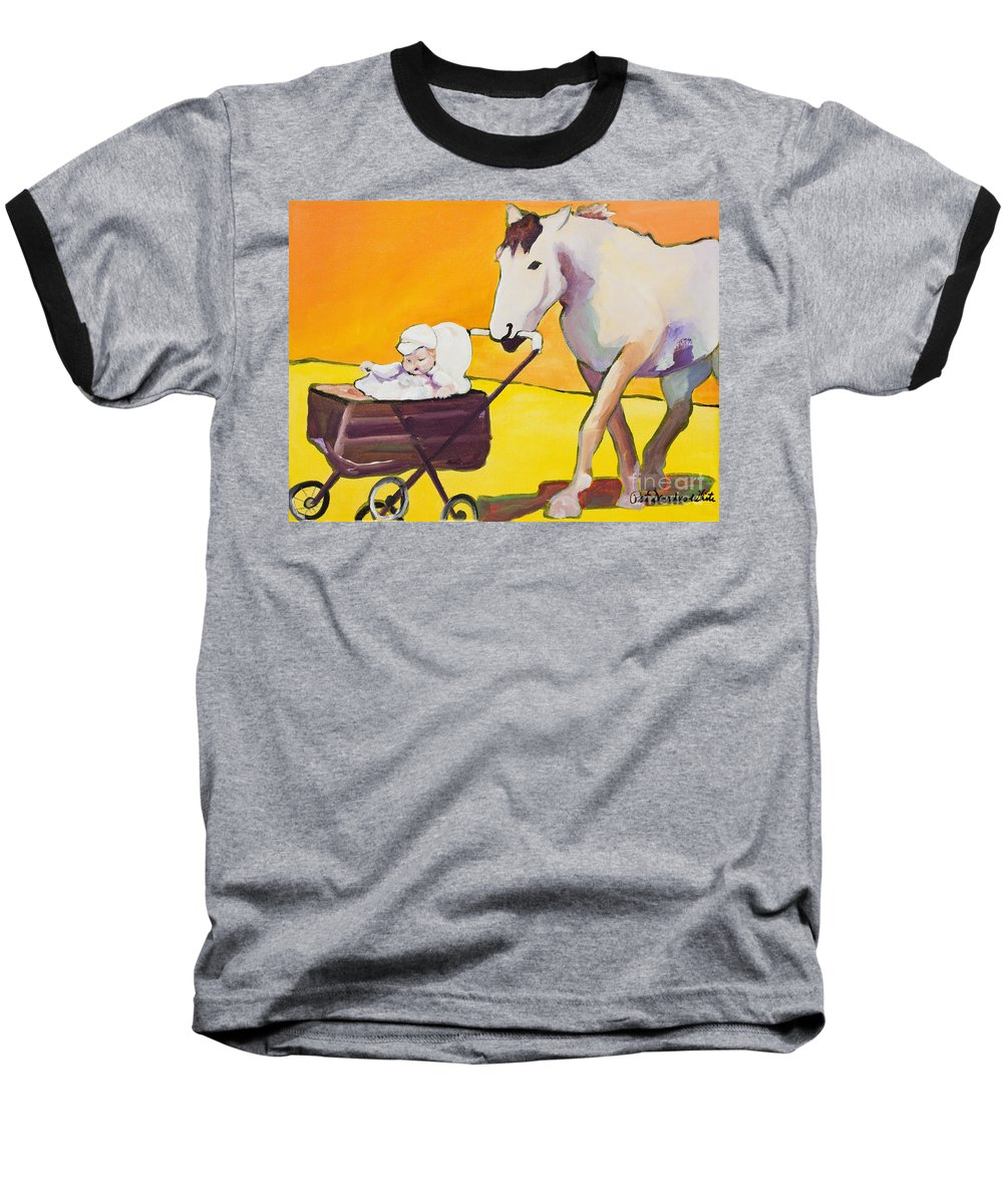 Animal Baseball T-Shirt featuring the painting Jake by Pat Saunders-White