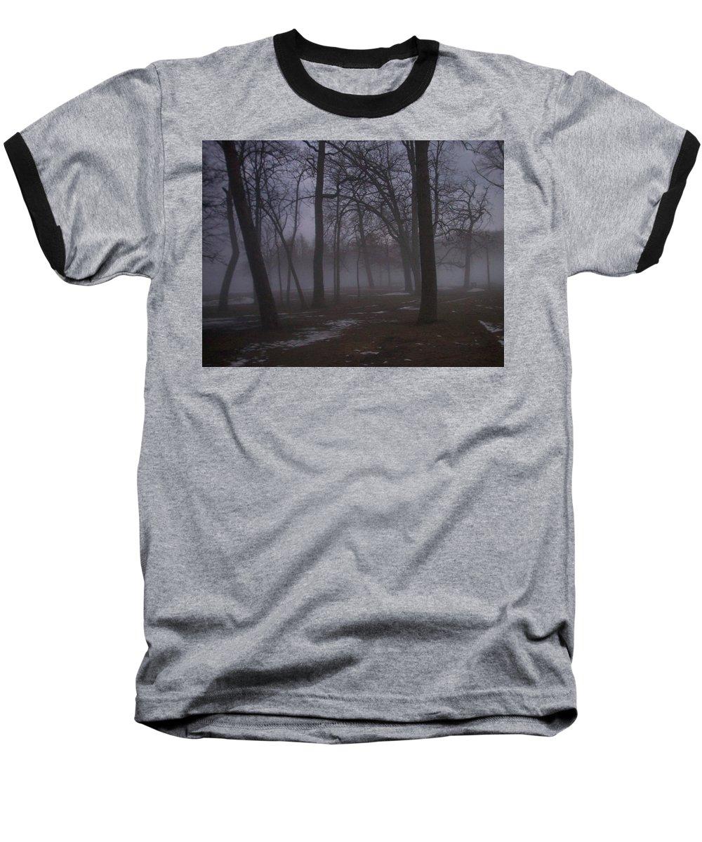 January Baseball T-Shirt featuring the photograph January Fog 2 by Anita Burgermeister