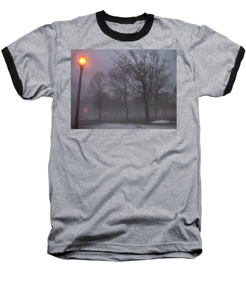 January Baseball T-Shirt featuring the photograph January Fog 3 by Anita Burgermeister