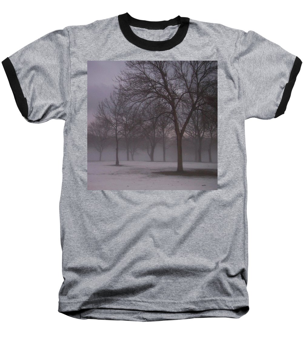 January Baseball T-Shirt featuring the photograph January Fog 4 by Anita Burgermeister