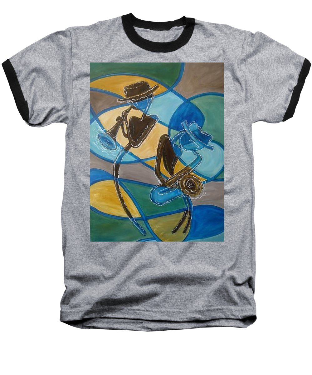 Jazz Baseball T-Shirt featuring the painting Jazz Raz by Regina Walsh