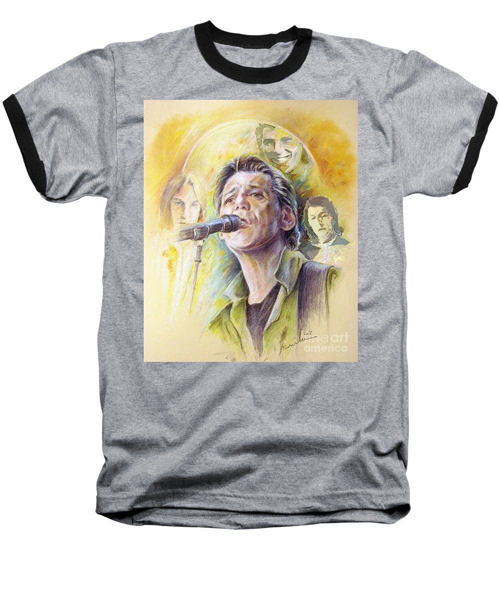 Jeff Christie Baseball T-Shirt featuring the painting Jeff Christie by Miki De Goodaboom