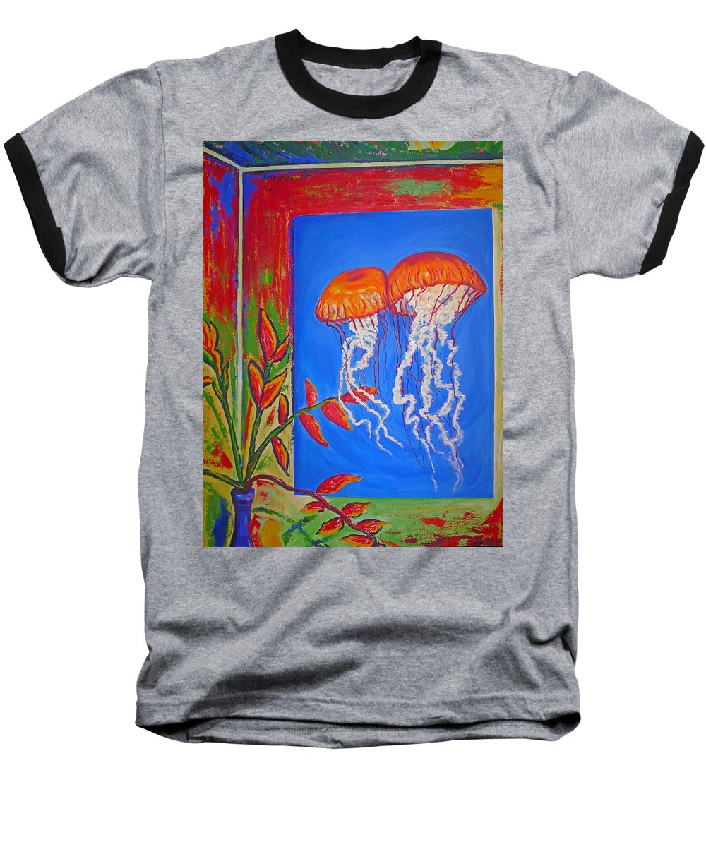 Jellyfish Baseball T-Shirt featuring the painting Jellyfish With Flowers by Ericka Herazo