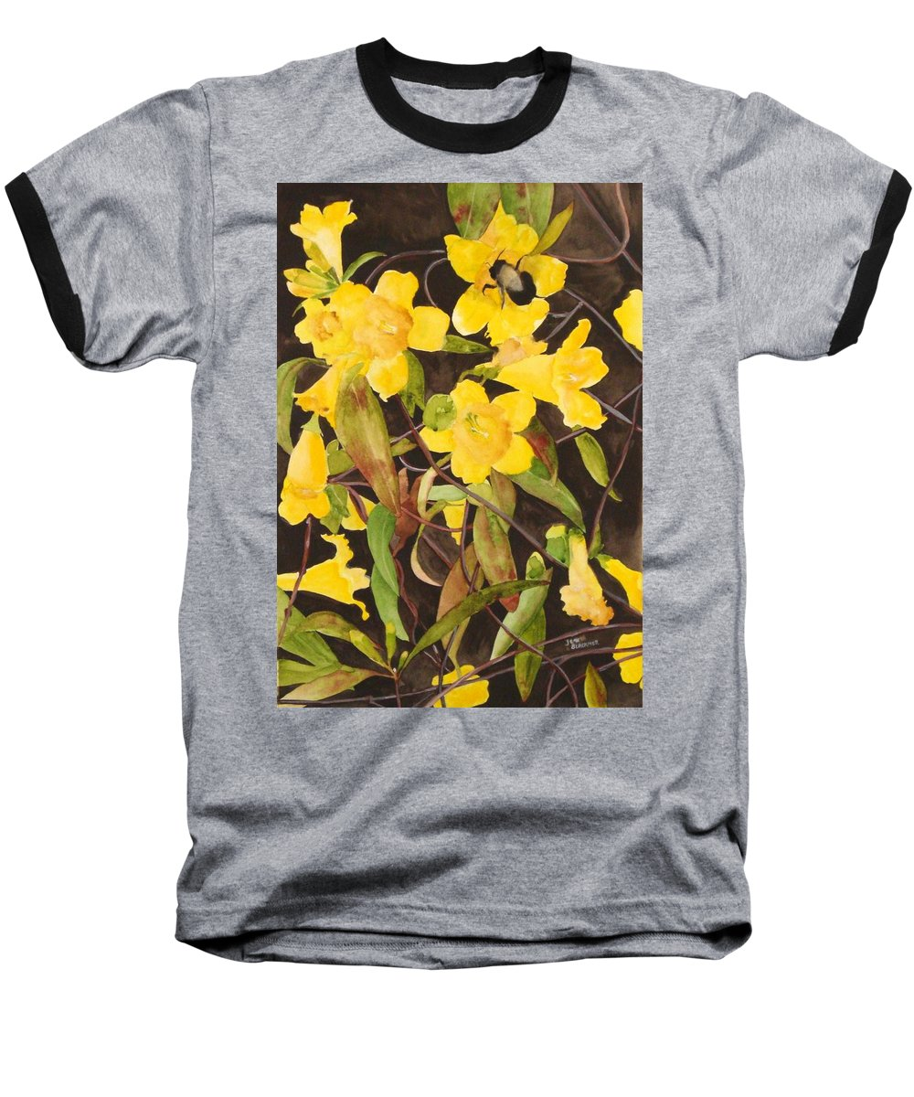 Flowers Baseball T-Shirt featuring the painting Jessamine Jungle by Jean Blackmer