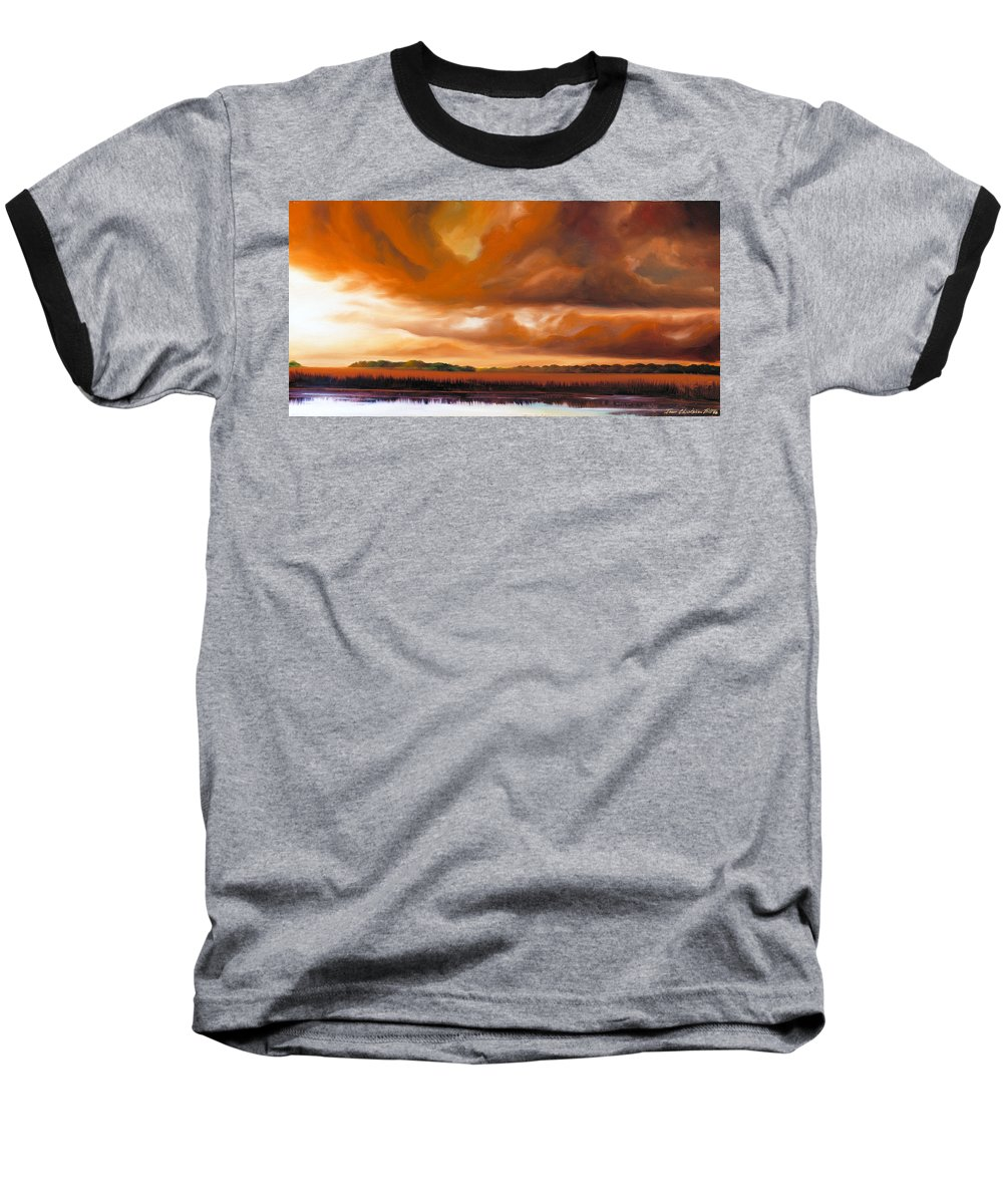 Clouds Baseball T-Shirt featuring the painting Jetties On The Shore by James Christopher Hill