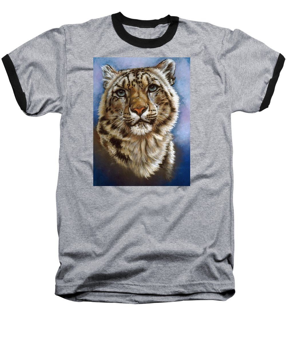 Snow Leopard Baseball T-Shirt featuring the pastel Jewel by Barbara Keith