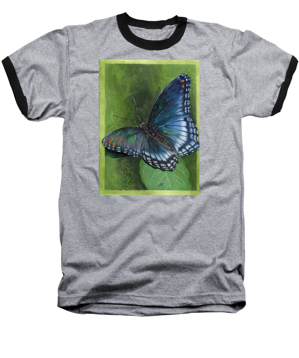 Insects Baseball T-Shirt featuring the mixed media Jewel Tones by Barbara Keith