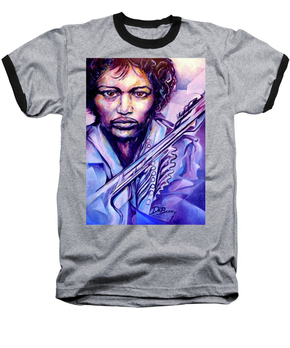 Baseball T-Shirt featuring the painting Jimi by Lloyd DeBerry