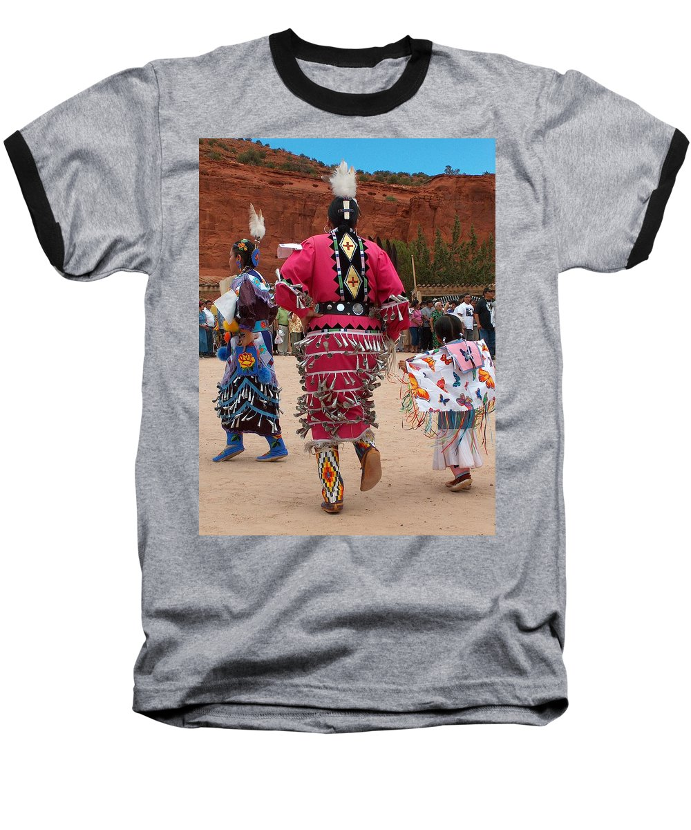 Pow-wow Baseball T-Shirt featuring the photograph Jingle Dress And Fancy Shawl Dancers by Tim McCarthy