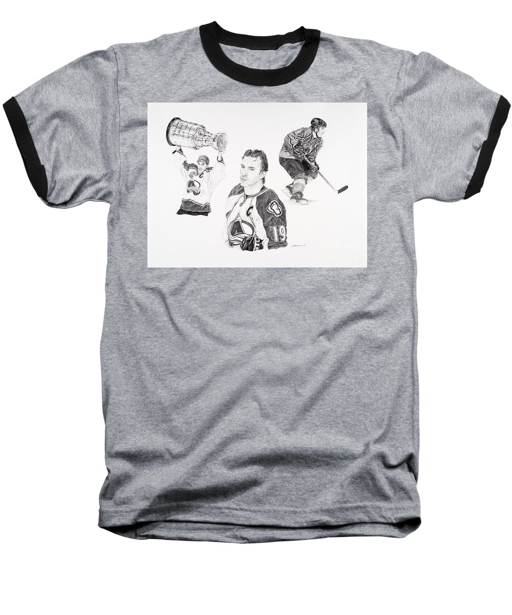 Hockey Baseball T-Shirt featuring the drawing Joe Sakic by Shawn Stallings