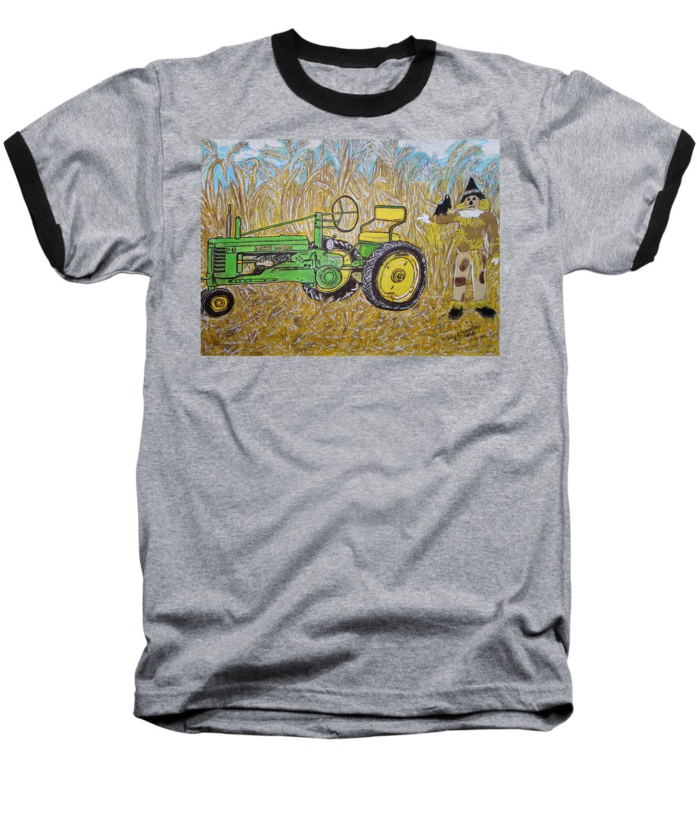 John Deere Baseball T-Shirt featuring the painting John Deere Tractor And The Scarecrow by Kathy Marrs Chandler