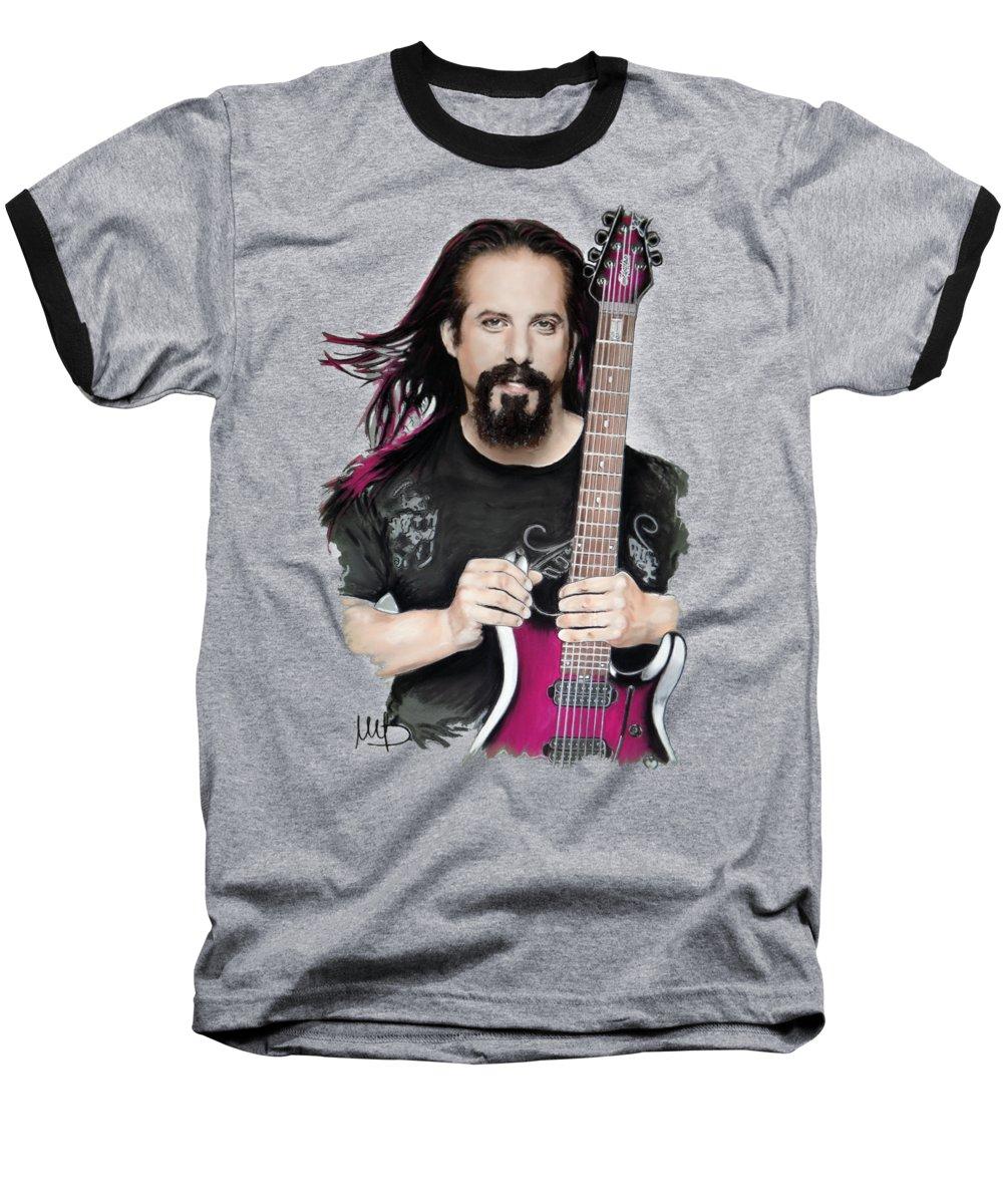 John Petrucci Baseball T-Shirt featuring the mixed media John Petrucci by Melanie D