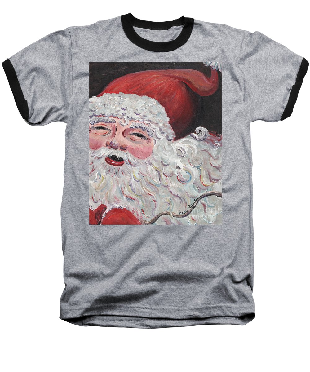 Santa Baseball T-Shirt featuring the painting Jolly Santa by Nadine Rippelmeyer
