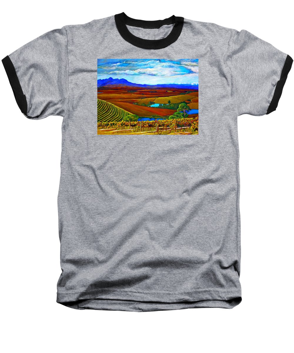 Vineyard Baseball T-Shirt featuring the painting Jordan Vineyard by Michael Durst