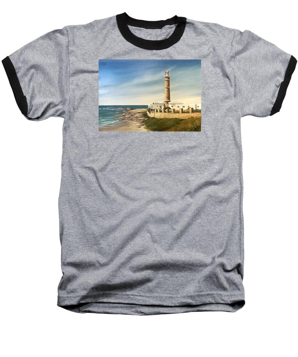 Landscape Seascape Lighthouse Uruguay Beach Sea Water Baseball T-Shirt featuring the painting Jose Ignacio Lighthouse Evening by Natalia Tejera