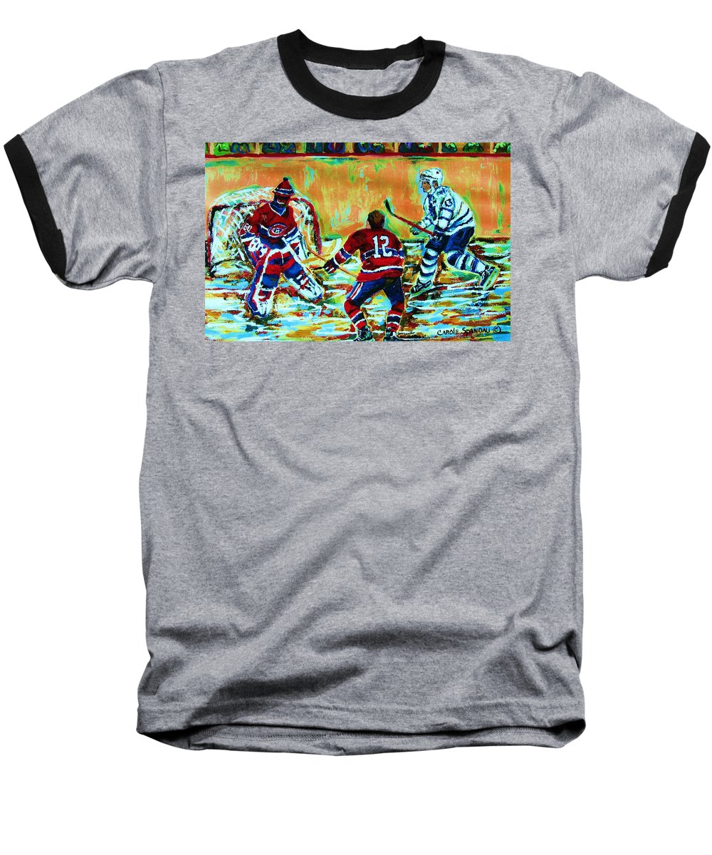 Hockey Canvas Prints Baseball T-Shirt featuring the painting Jose Theodore The Goalkeeper by Carole Spandau