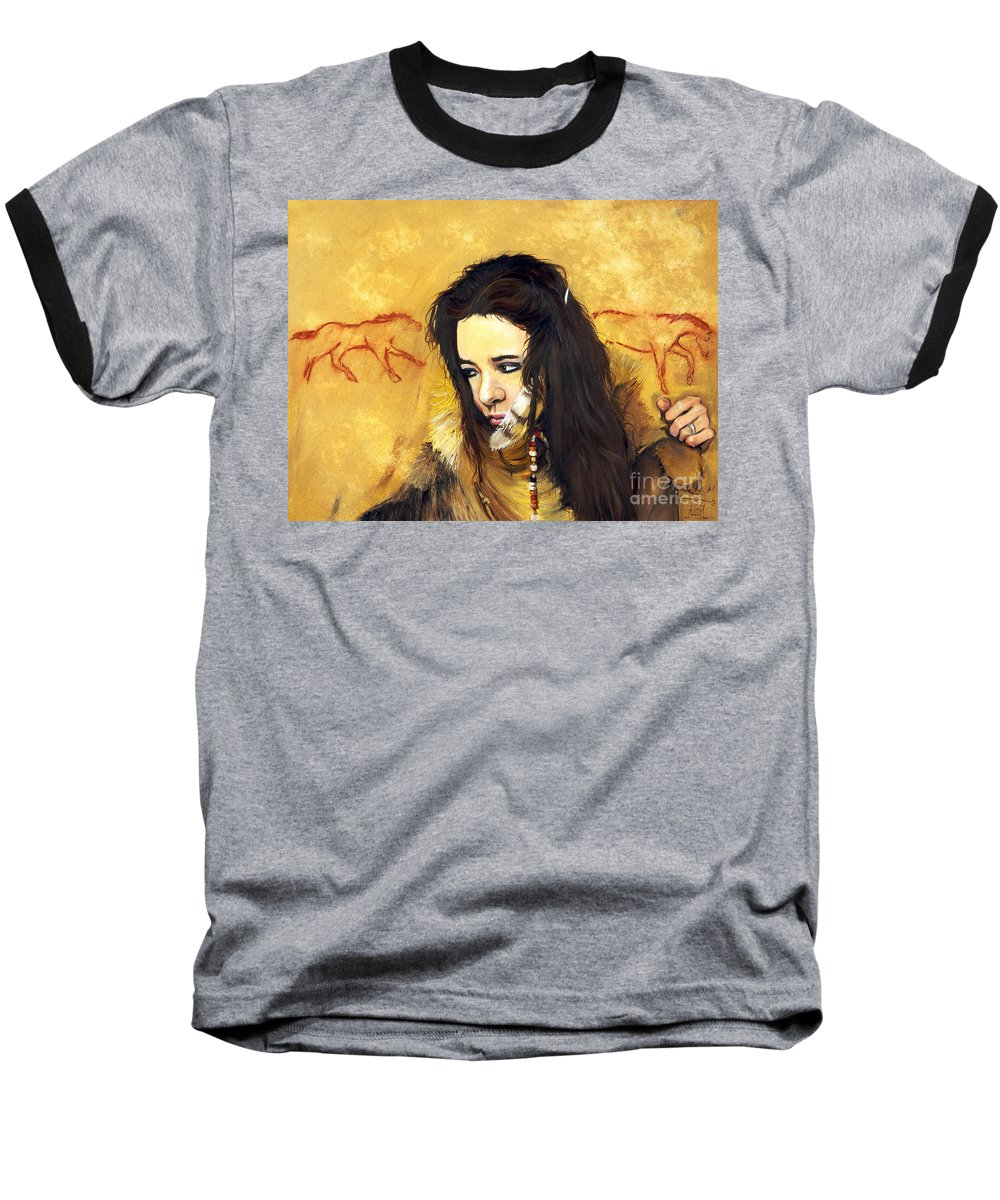 Southwest Art Baseball T-Shirt featuring the painting Journey by J W Baker