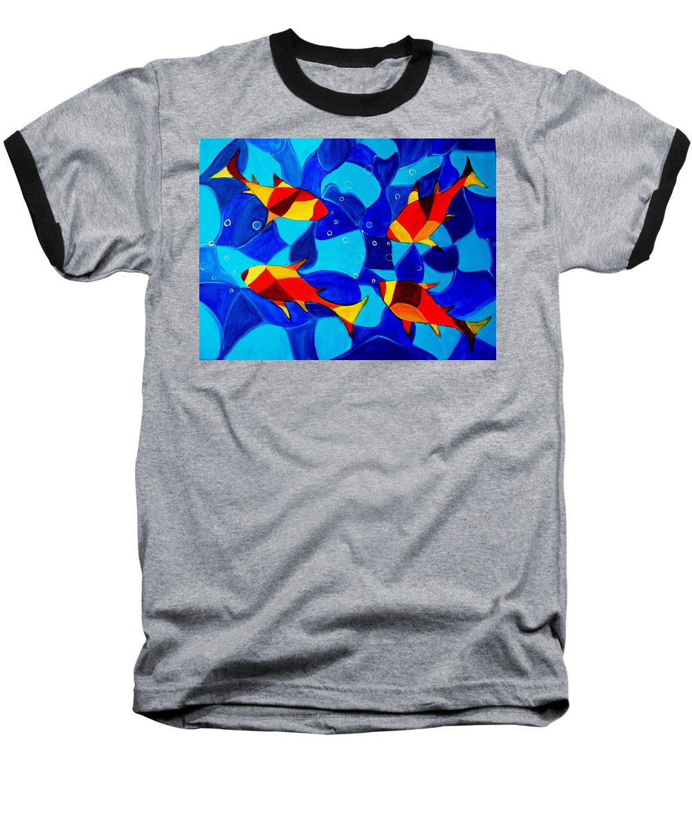 Abstract.acrylic.fish.bubbles.art.painting.modern.contemporary.popblue Red Bubbles Yellow Landscape Baseball T-Shirt featuring the painting Joy Fish Abstract by Manjiri Kanvinde