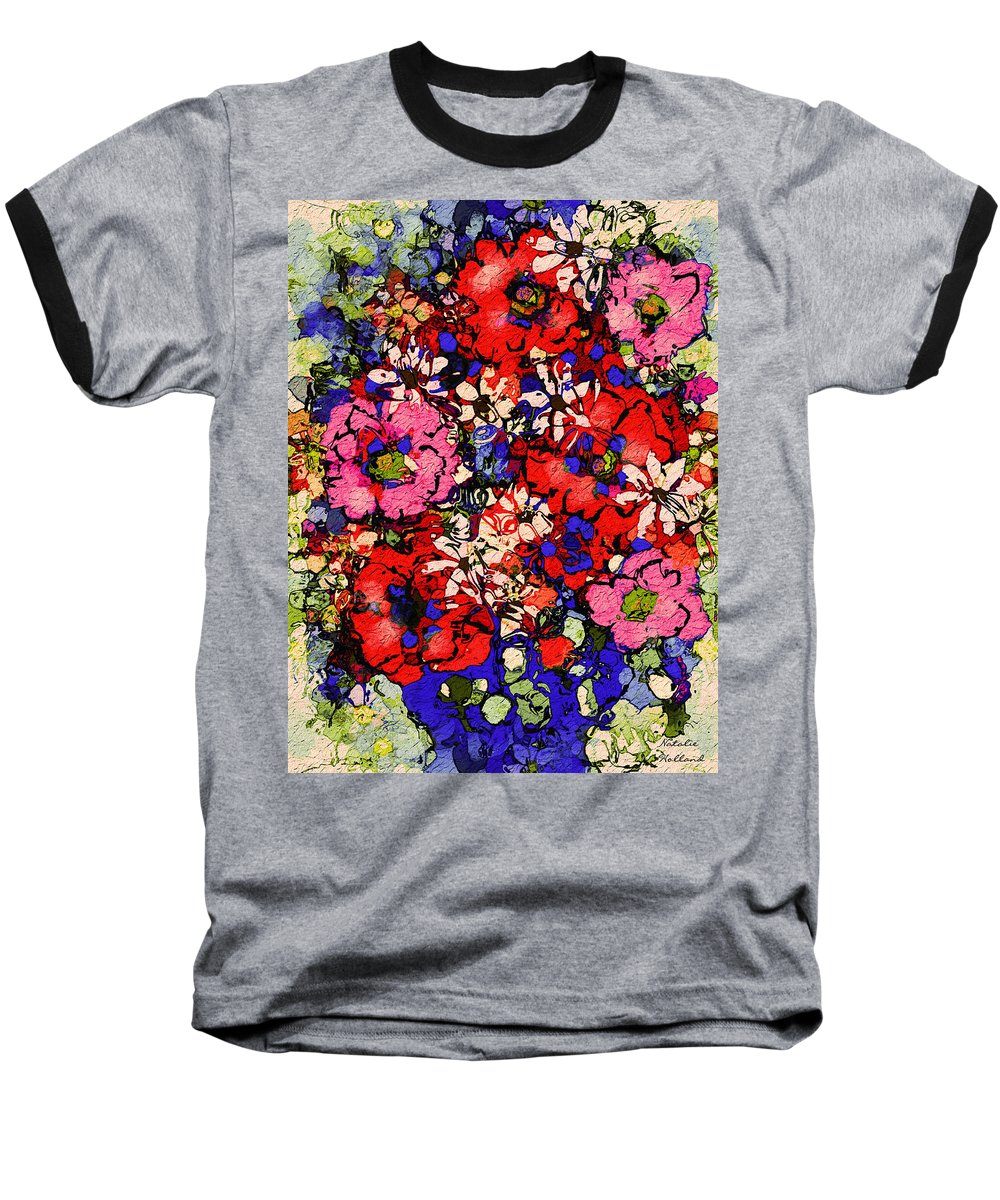 Floral Abstract Baseball T-Shirt featuring the painting Joyful Flowers by Natalie Holland