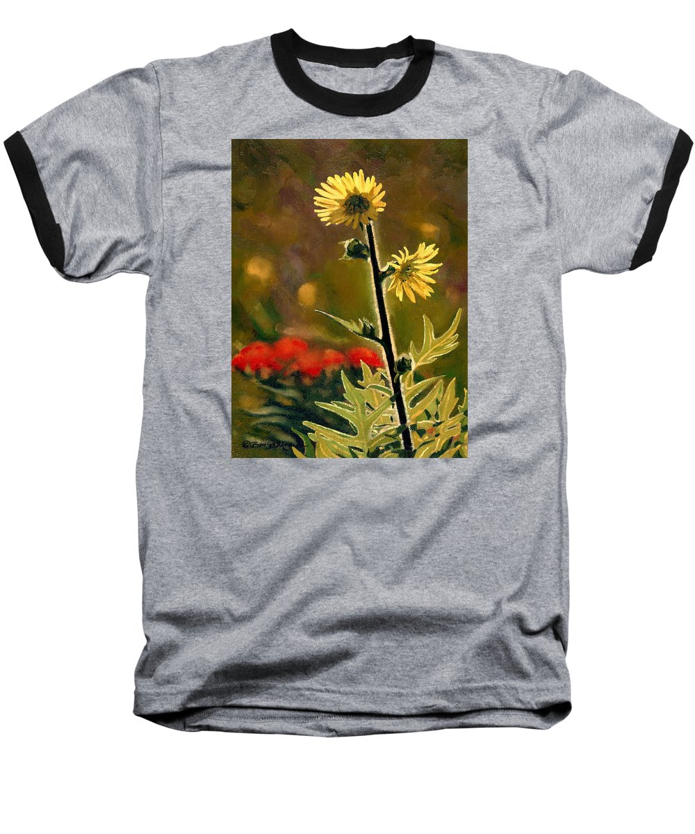 Prairie Flowers Baseball T-Shirt featuring the painting July Afternoon-compass Plant by Bruce Morrison