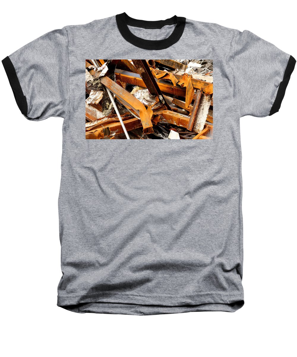 Steel Baseball T-Shirt featuring the photograph Jumbled Steel by Jean Macaluso
