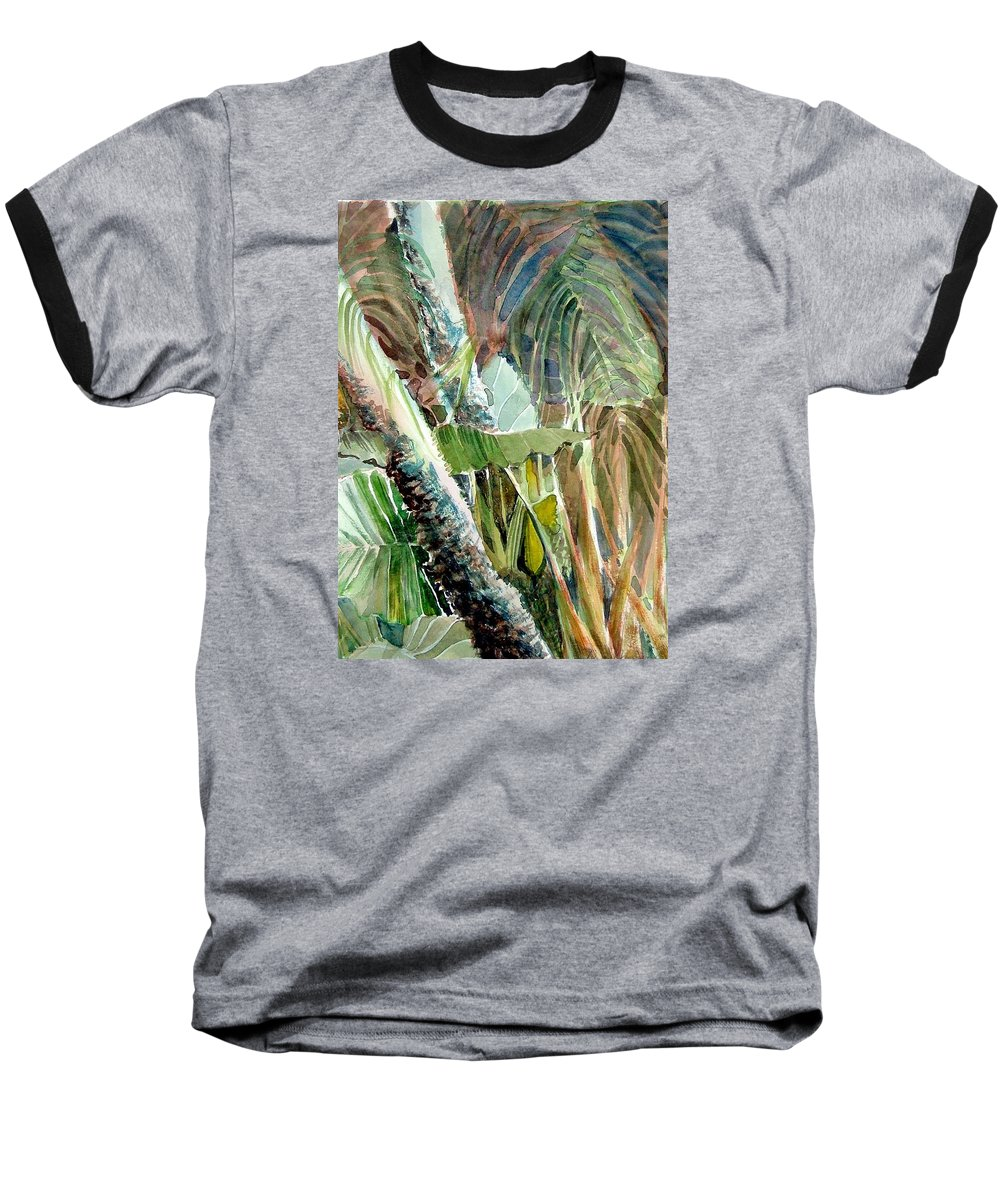 Palm Tree Baseball T-Shirt featuring the painting Jungle Light by Mindy Newman