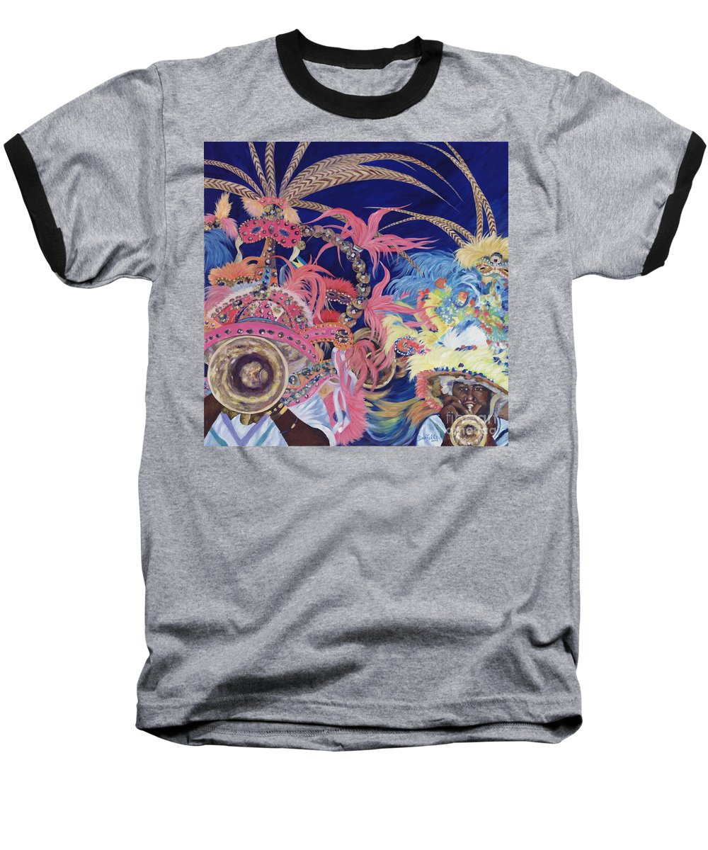 Bahamas Baseball T-Shirt featuring the painting Junkanoo by Danielle Perry