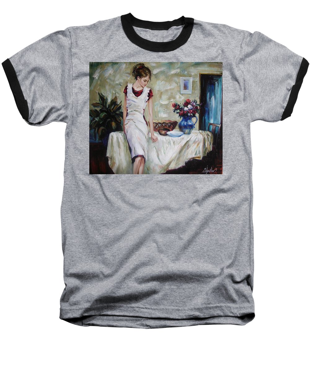 Figurative Baseball T-Shirt featuring the painting Just The Next Day by Sergey Ignatenko