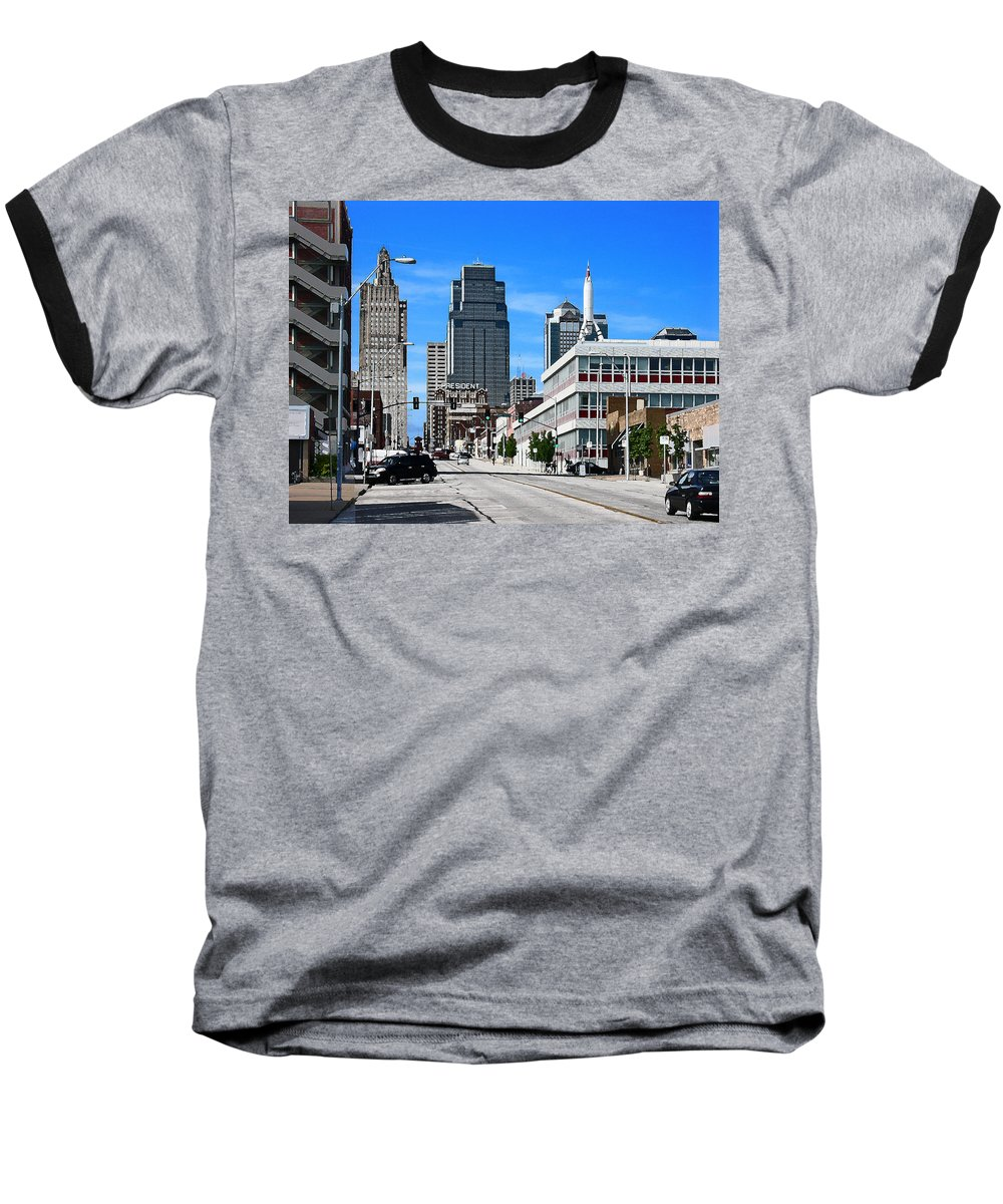 City Scape Baseball T-Shirt featuring the photograph Kansas City Cross Roads by Steve Karol