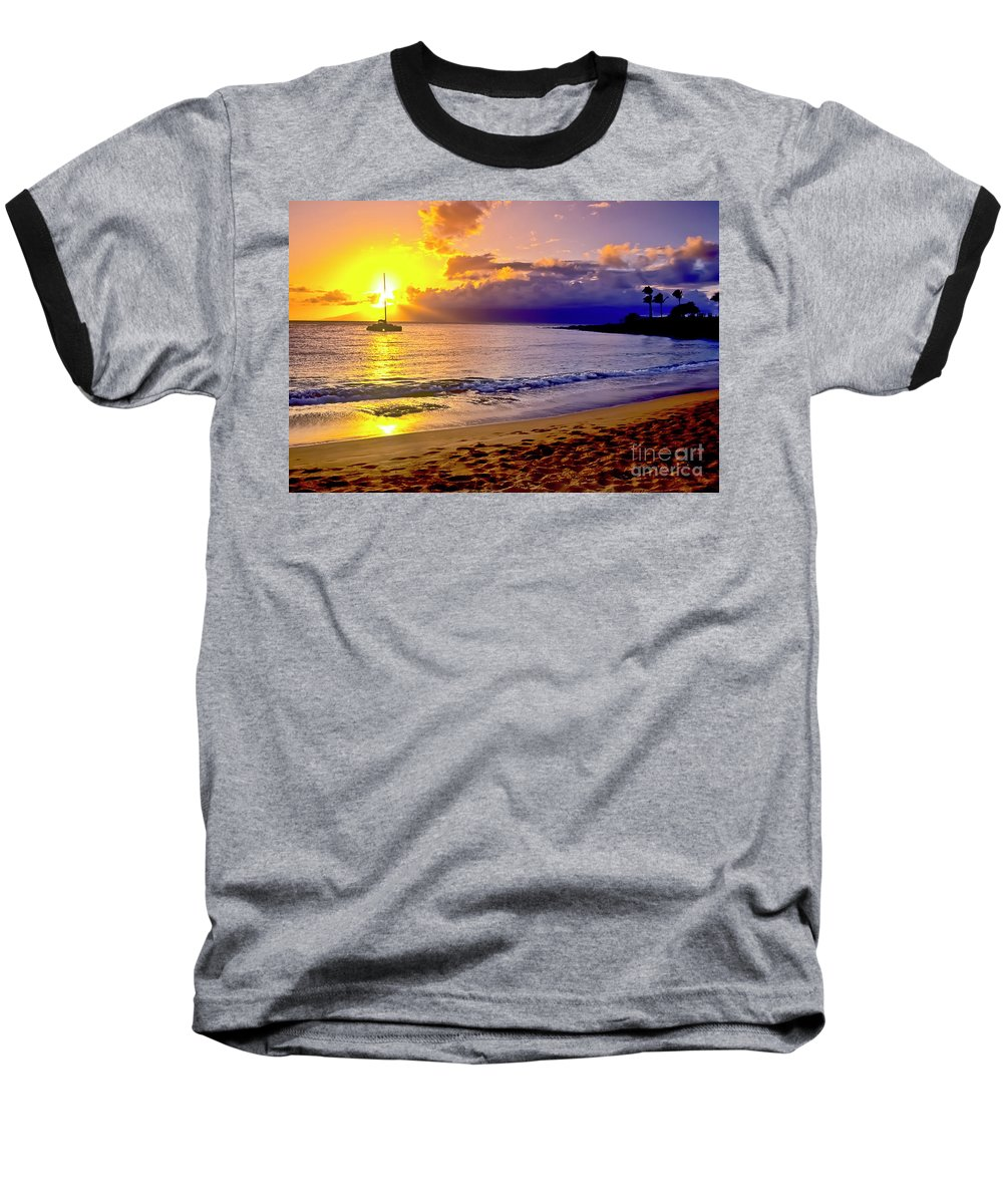 Scenics Baseball T-Shirt featuring the photograph Kapalua Bay Sunset by Jim Cazel