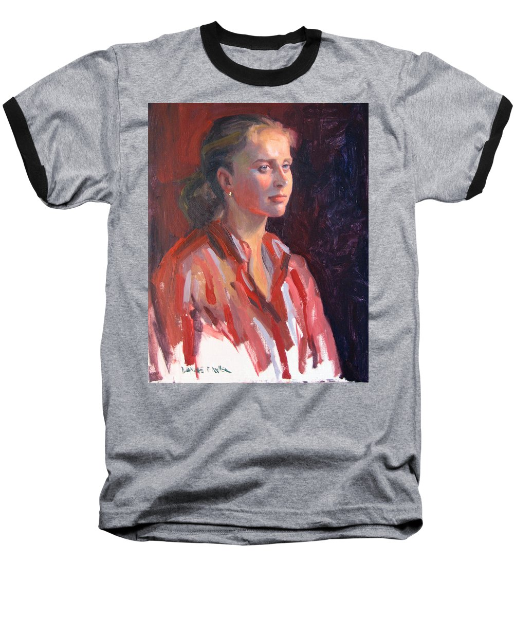 Portrait Baseball T-Shirt featuring the painting Kate by Dianne Panarelli Miller