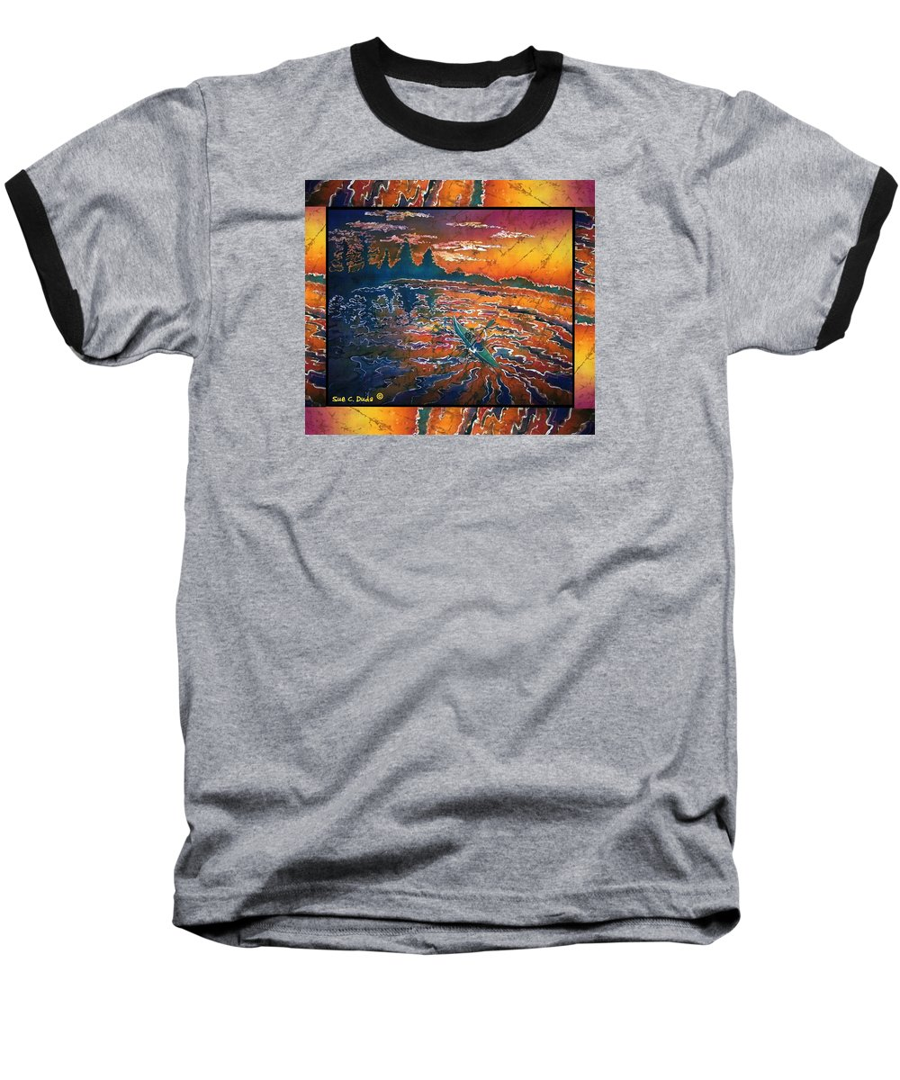Kayak Baseball T-Shirt featuring the painting Kayaking Serenity - Bordered by Sue Duda