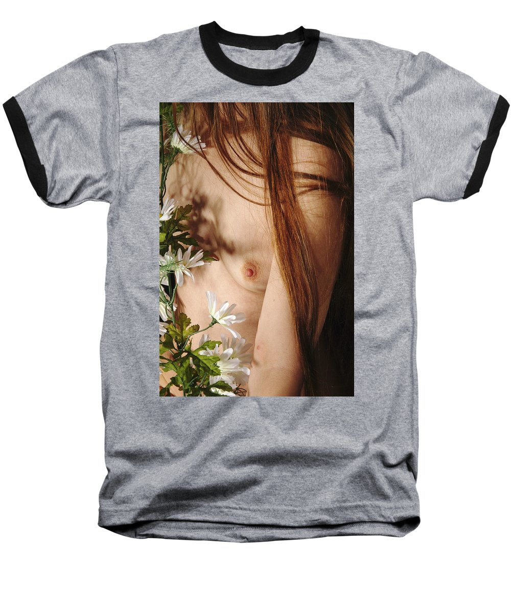 Female Nude Abstract Mirrors Flowers Baseball T-Shirt featuring the photograph Kazi1141 by Henry Butz