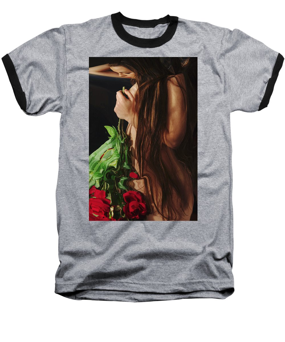 Female Nude Abstract Mirrors Flowers Baseball T-Shirt featuring the photograph Kazi1179 by Henry Butz