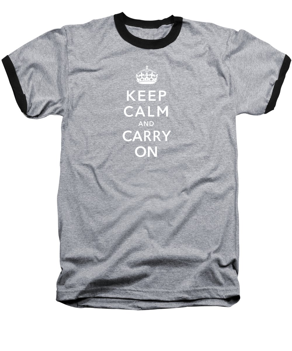Britain Baseball T-Shirt featuring the digital art Keep Calm And Carry On by War Is Hell Store