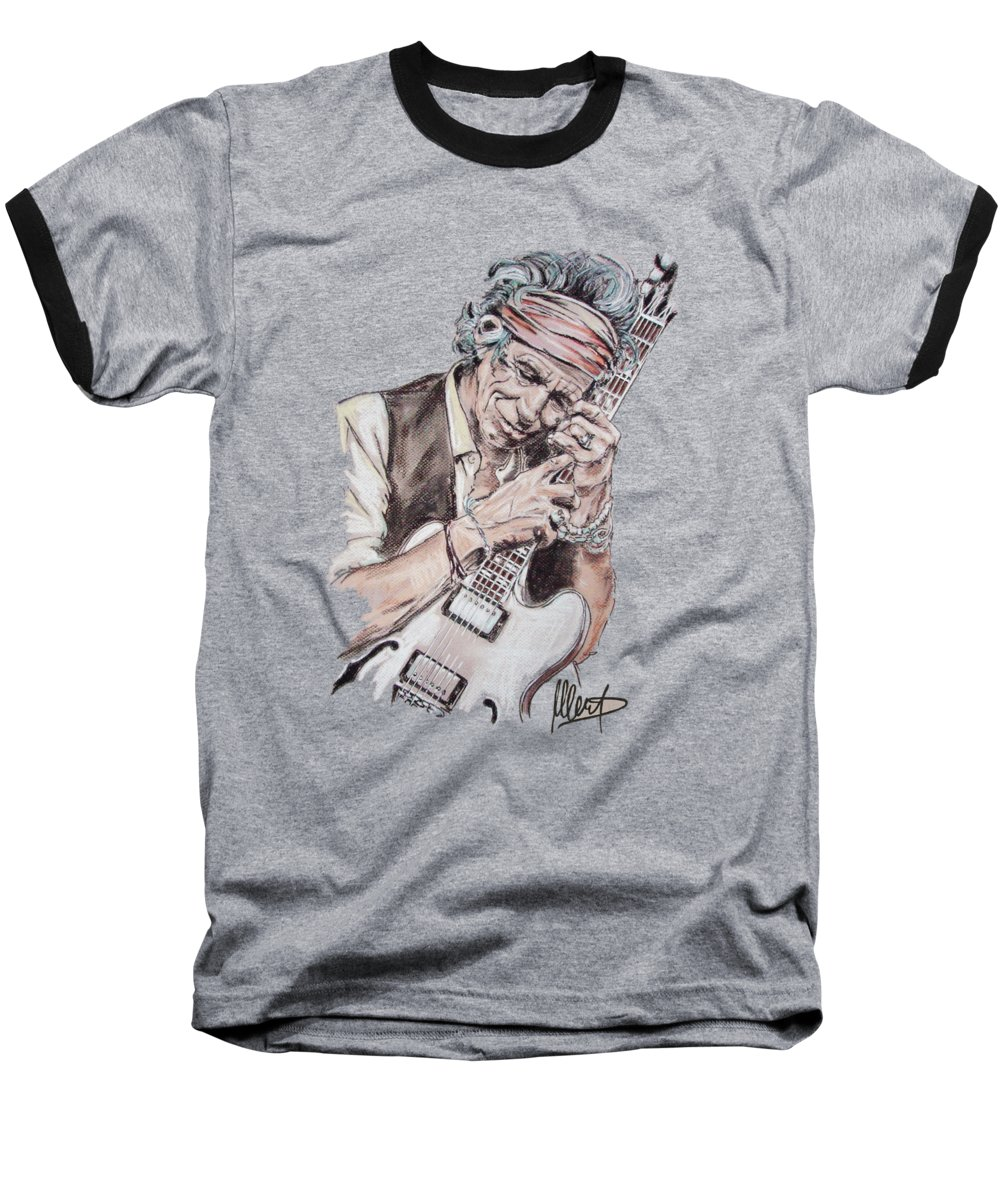 Keith Richards Baseball T-Shirt featuring the painting Keith by Melanie D