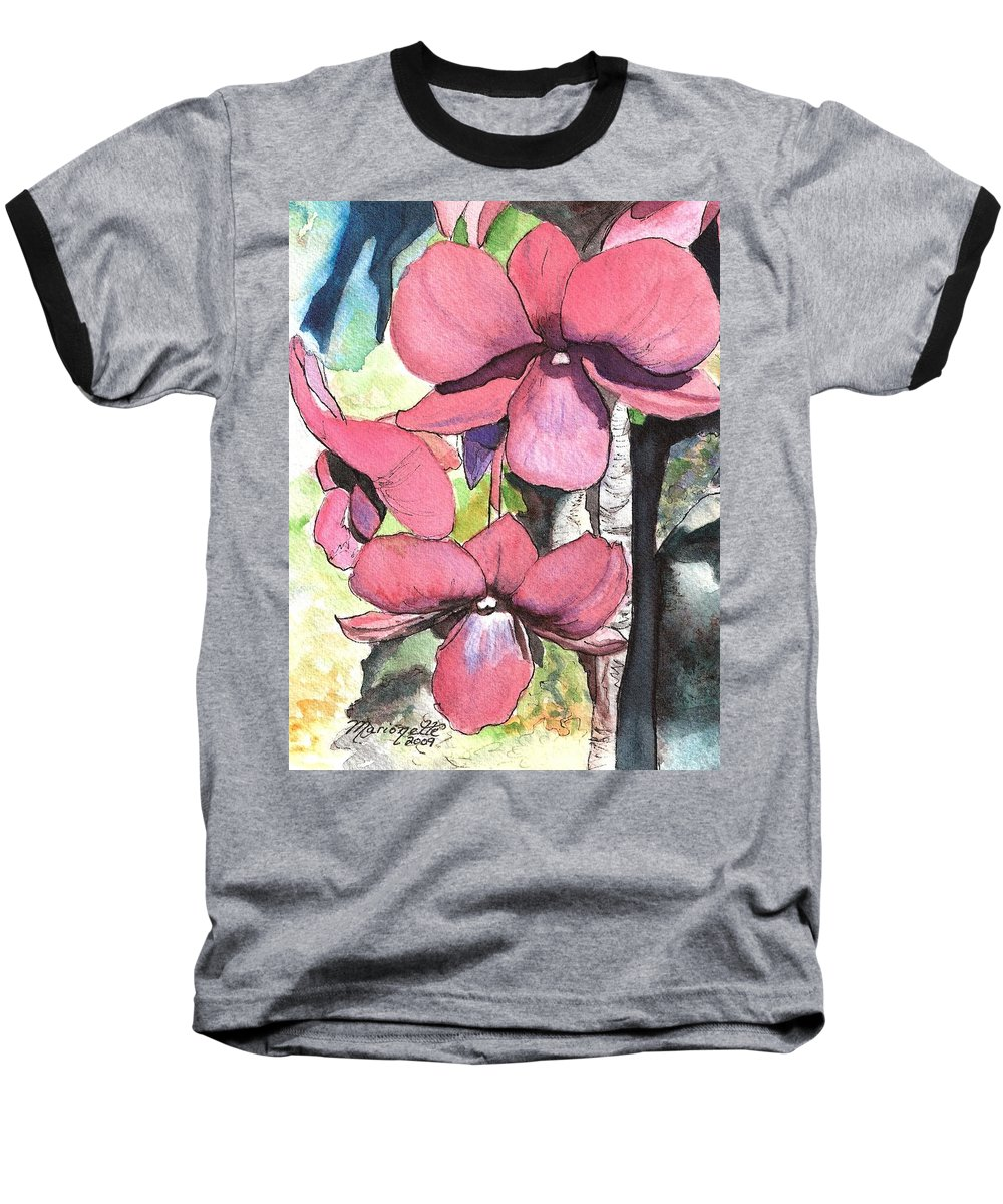 Orchid Baseball T-Shirt featuring the painting Kiahuna Orchids by Marionette Taboniar