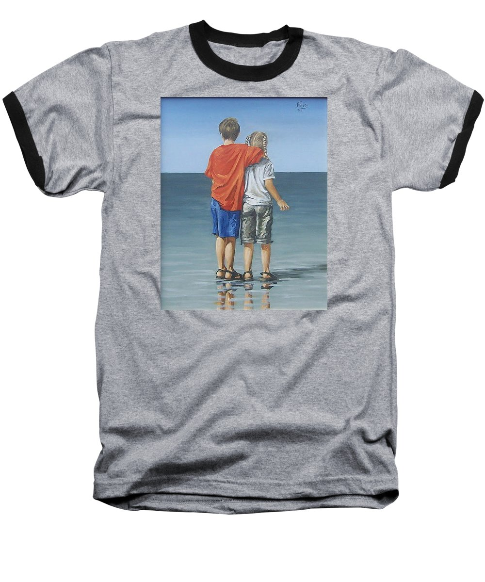 Kids Baseball T-Shirt featuring the painting Kids by Natalia Tejera