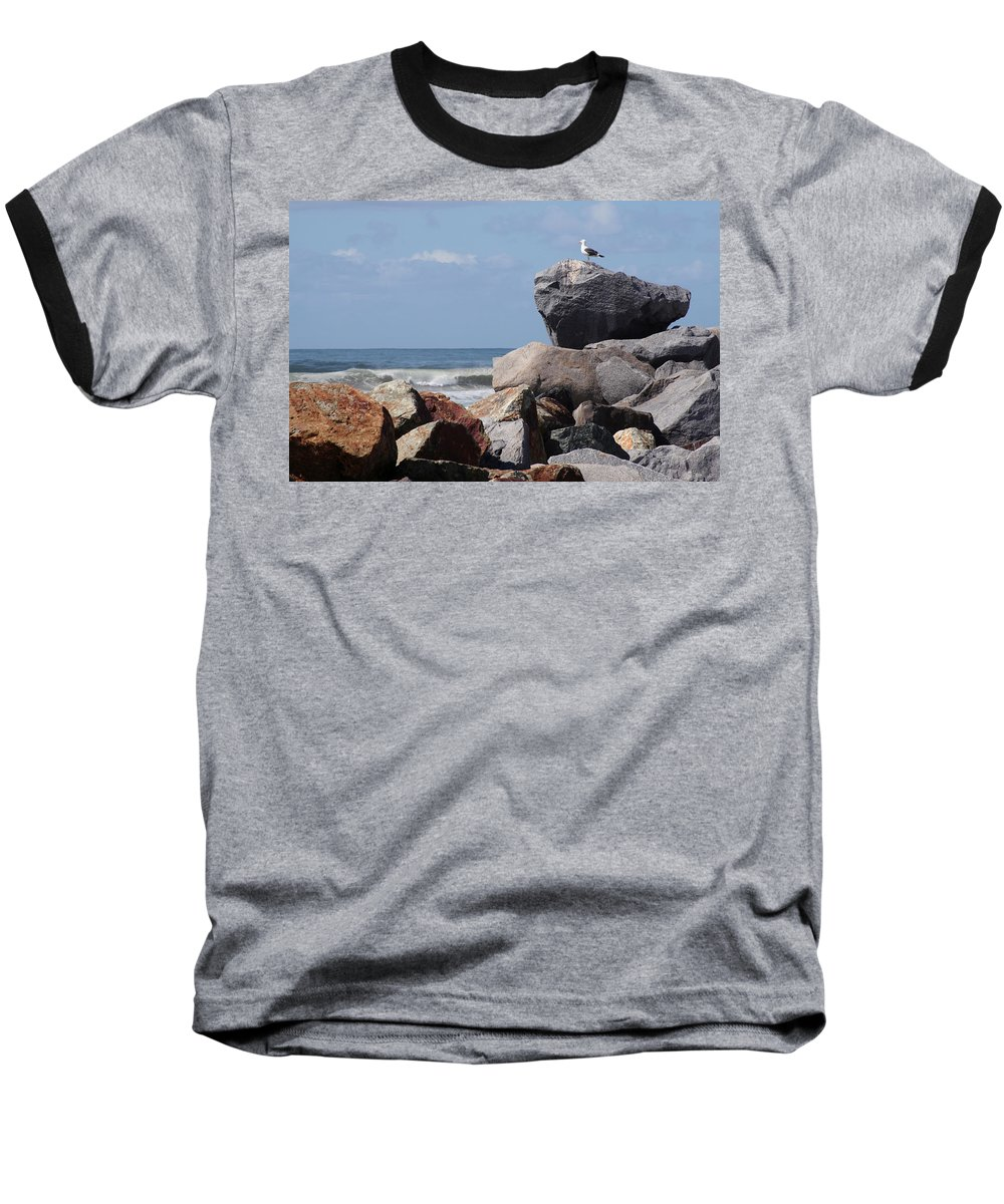 Beach Baseball T-Shirt featuring the photograph King Of The Rocks by Margie Wildblood