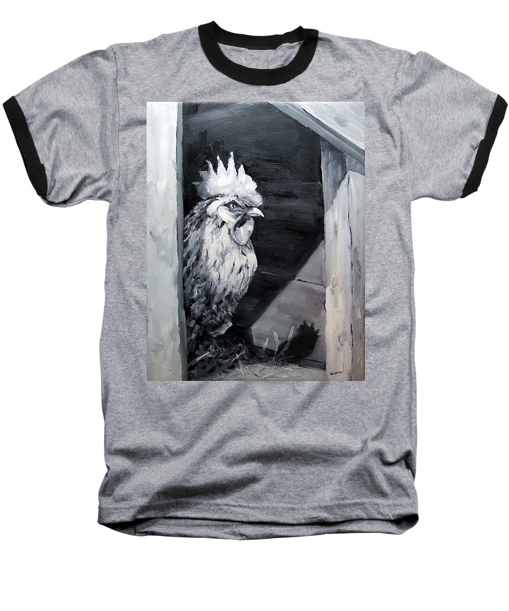Animal Baseball T-Shirt featuring the painting King Of The Roost by Diane Kraudelt