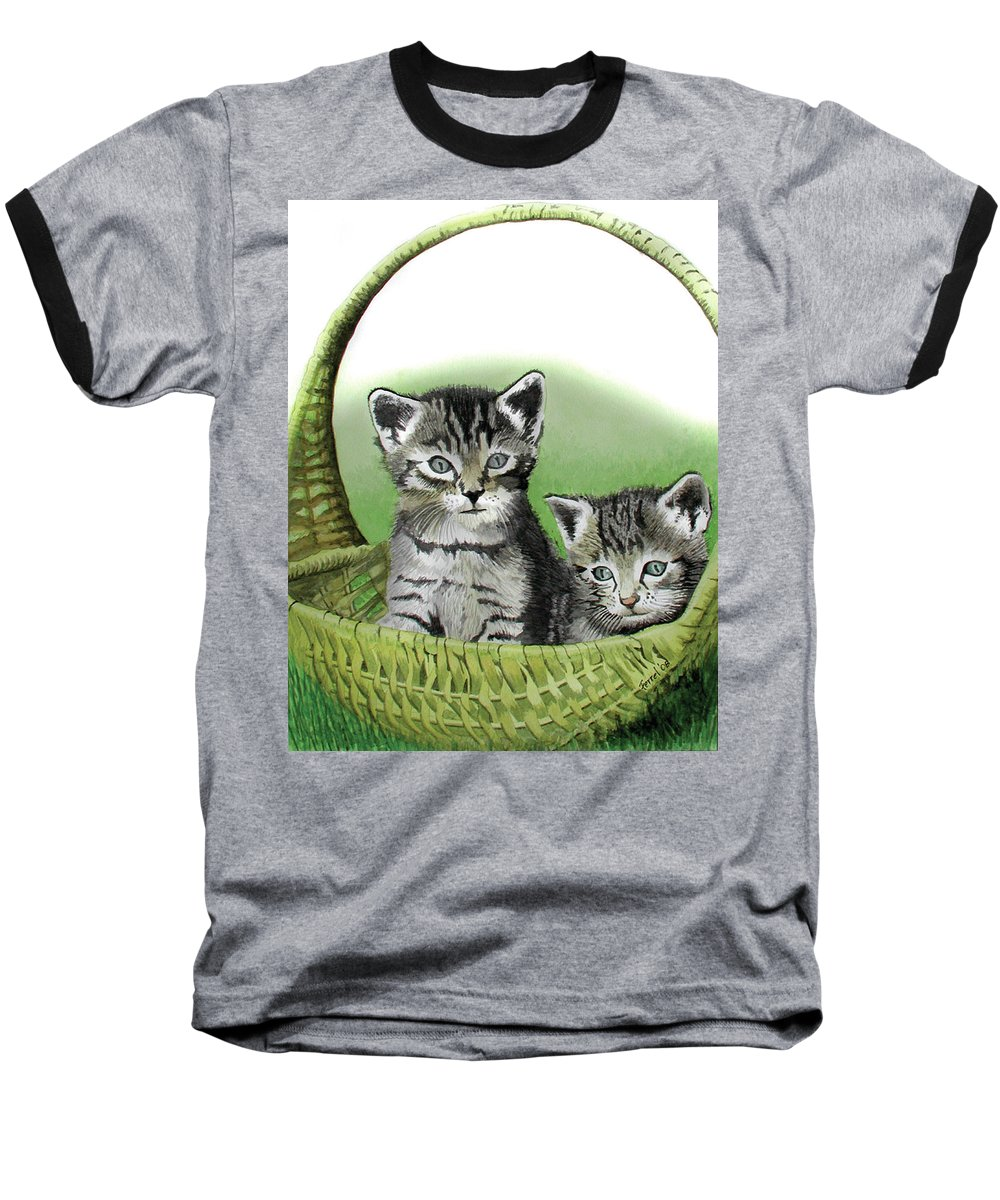 Cat Baseball T-Shirt featuring the painting Kitty Caddy by Ferrel Cordle