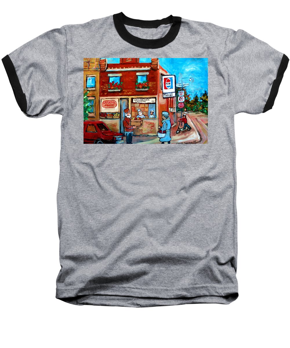 Kosher Bakery Baseball T-Shirt featuring the painting Kosher Bakery On Hutchison Street by Carole Spandau