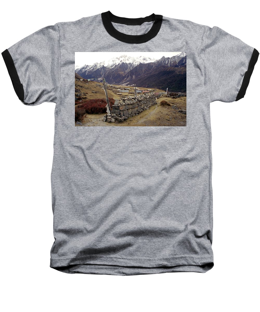 Langtang Baseball T-Shirt featuring the photograph Kyanjin Gompa by Patrick Klauss