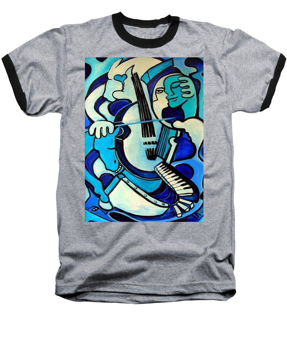Abstract Baseball T-Shirt featuring the painting L Amour Ou Quoi by Valerie Vescovi
