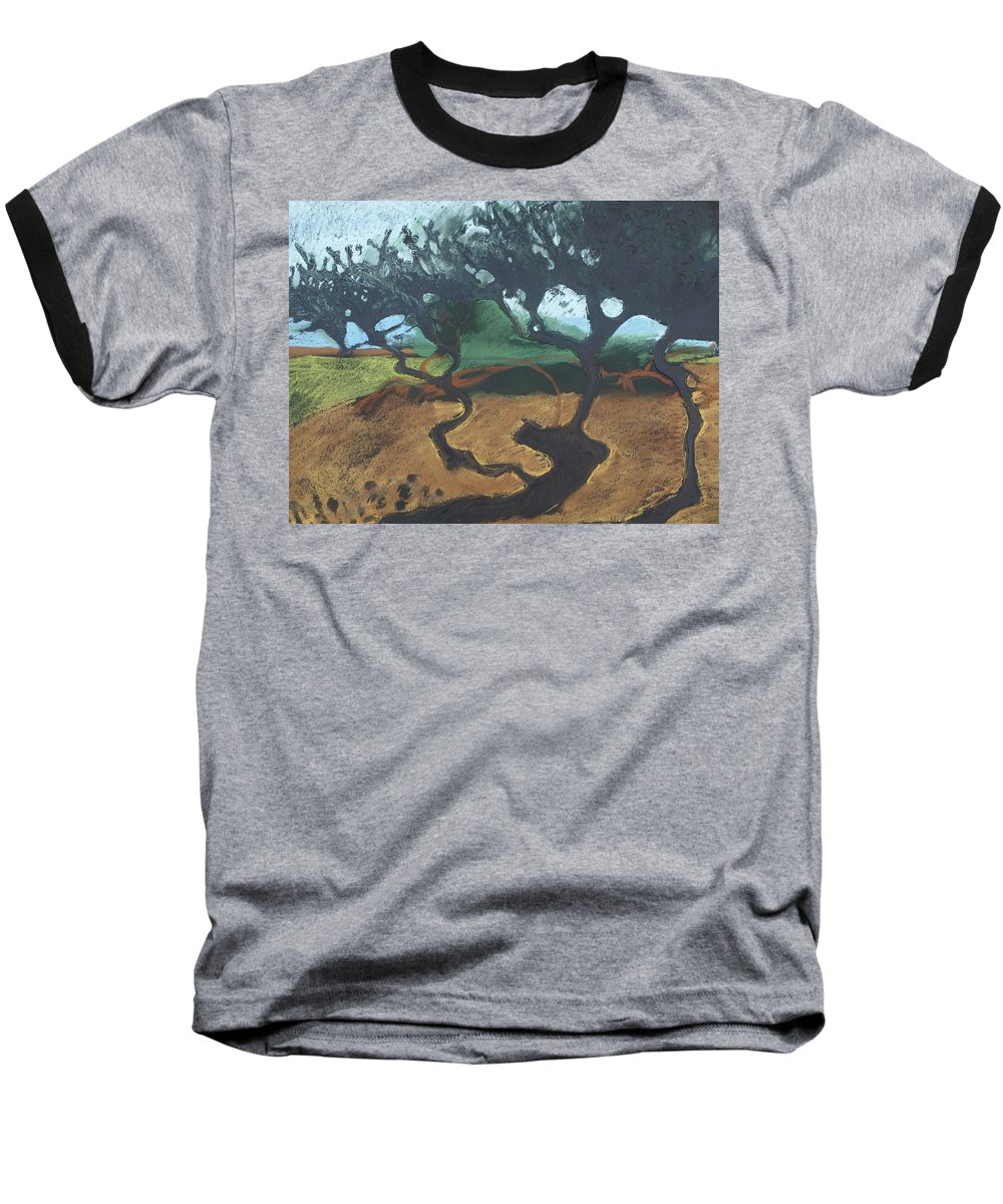 Contemporary Tree Landscape Baseball T-Shirt featuring the drawing La Jolla I by Leah Tomaino