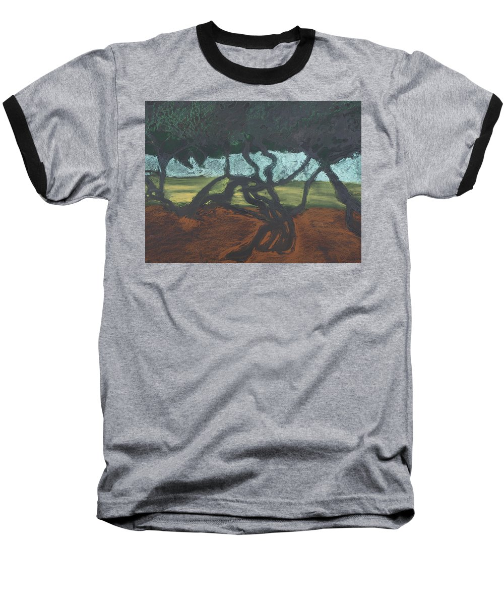 Contemporary Tree Landscape Baseball T-Shirt featuring the mixed media La Jolla II by Leah Tomaino