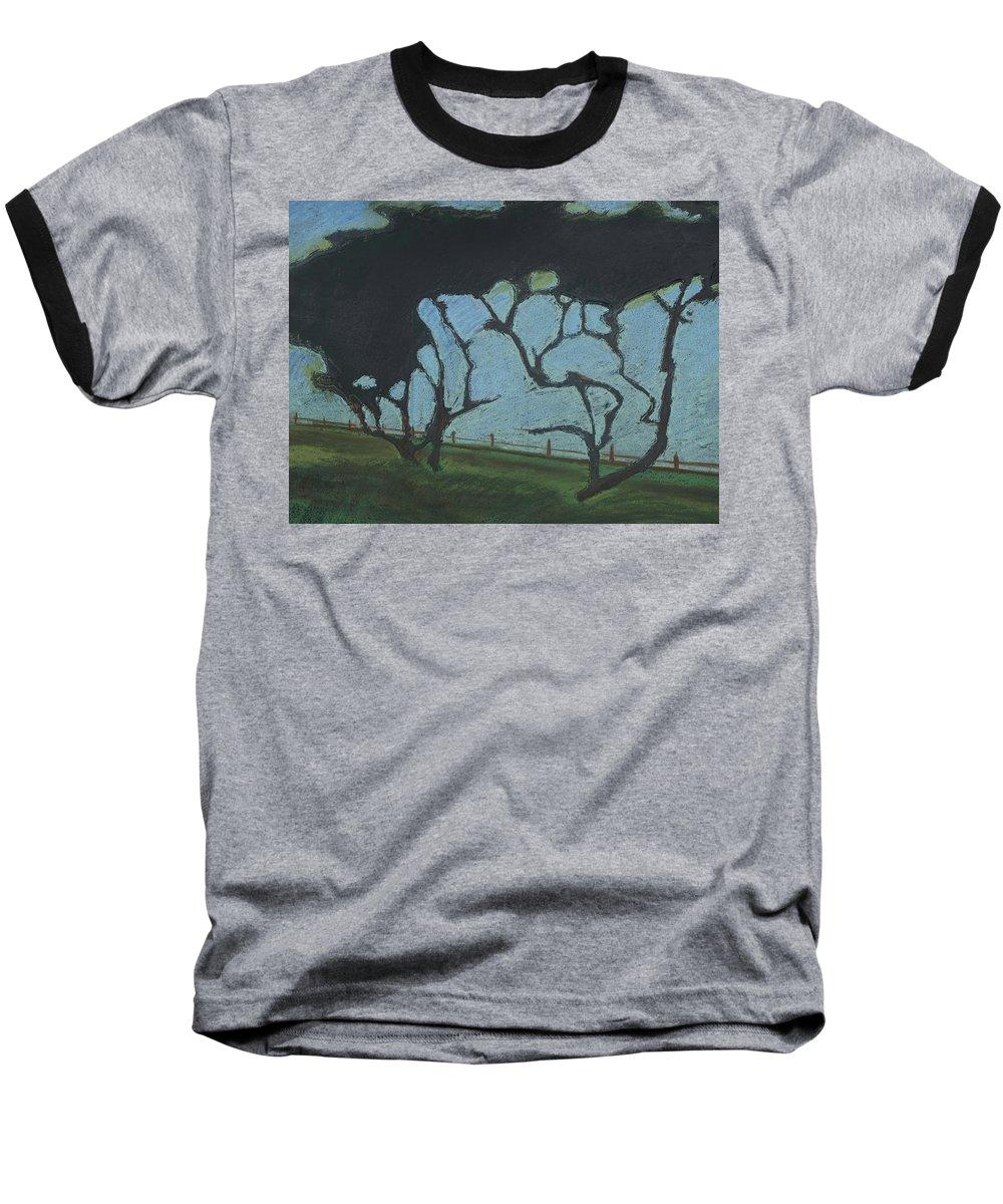 Contemporary Tree Landscape Baseball T-Shirt featuring the mixed media La Jolla IIi by Leah Tomaino