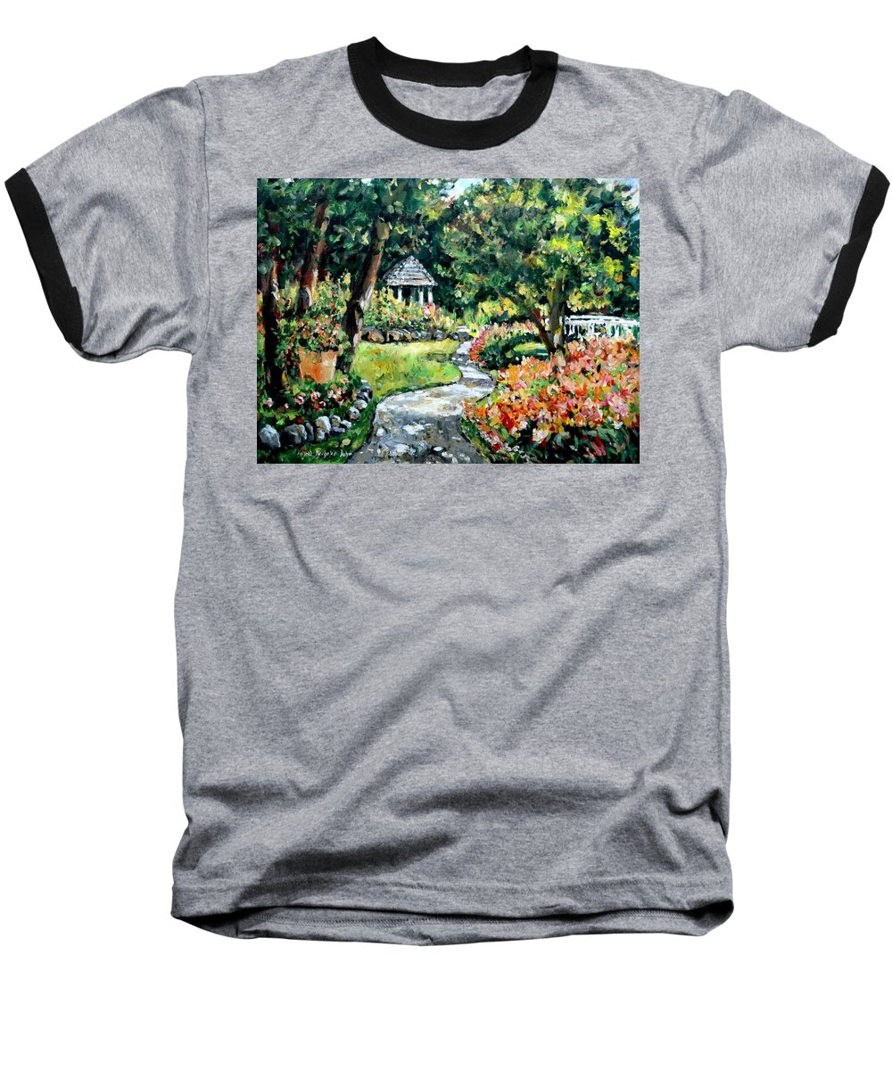 Landscape Baseball T-Shirt featuring the painting La Paloma Gardens by Alexandra Maria Ethlyn Cheshire