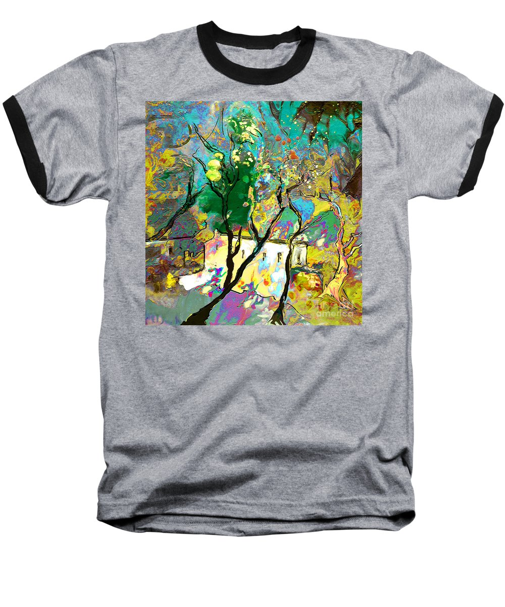 Miki Baseball T-Shirt featuring the painting La Provence 16 by Miki De Goodaboom