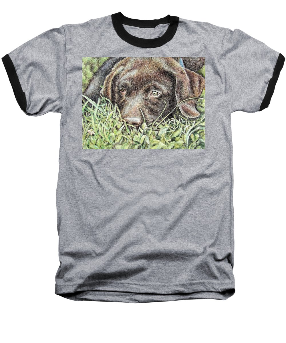 Dog Baseball T-Shirt featuring the pastel Labrador Puppy by Nicole Zeug